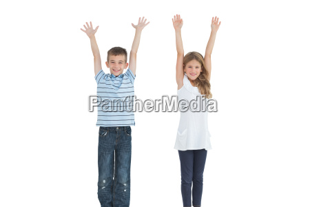 happy, young, brother, and, sister, cheering - 10073614
