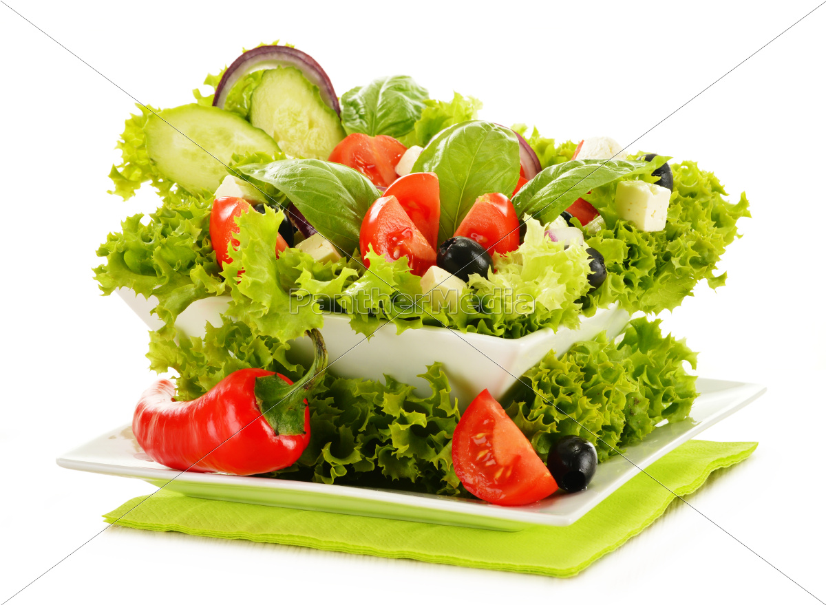 vegetable, salad, bowl, isolated, on, white - 10074914