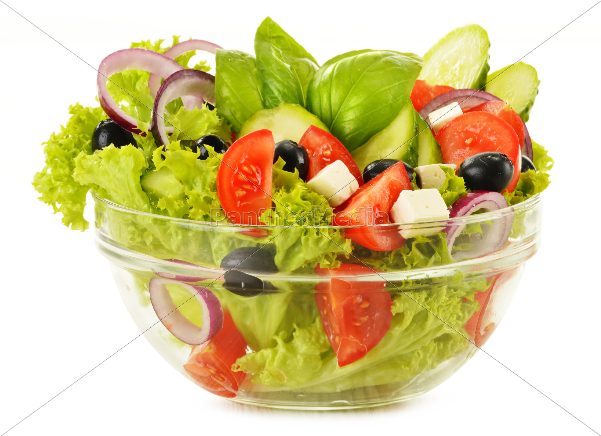 vegetable, salad, bowl, isolated, on, white - 10074934