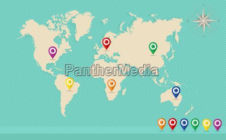 world map geo position pins wind