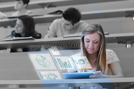 pretty, blonde, student, analysing, graphs, on - 10077938