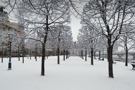 dresden bruehl terrace in the snow