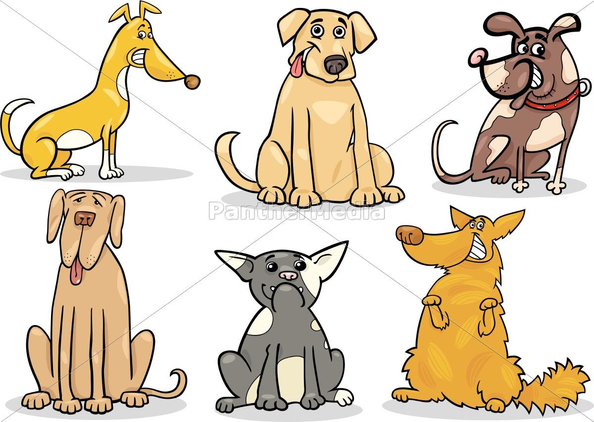 cute, dogs, set, cartoon, illustration - 10085836