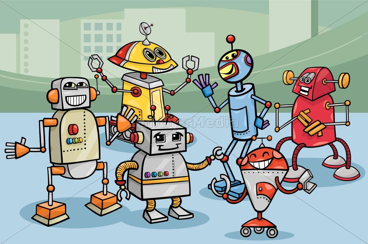 robots, group, cartoon, illustration - 10085900