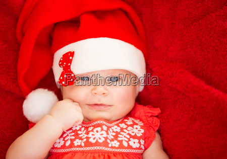 newborn, girl, wear, santa, hat - 10088406