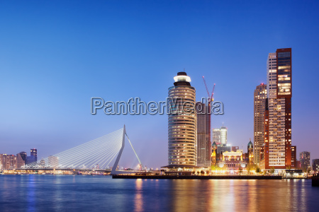 city of rotterdam skyline in the