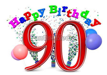 a 90 with happy birthday and