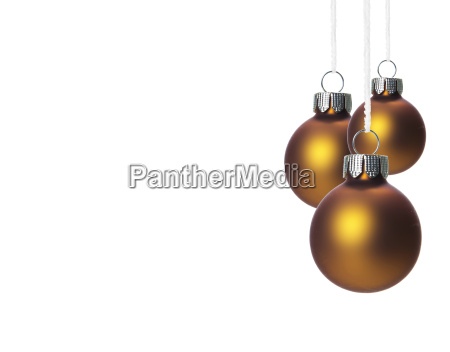 brown christmas tree balls hanging suspended
