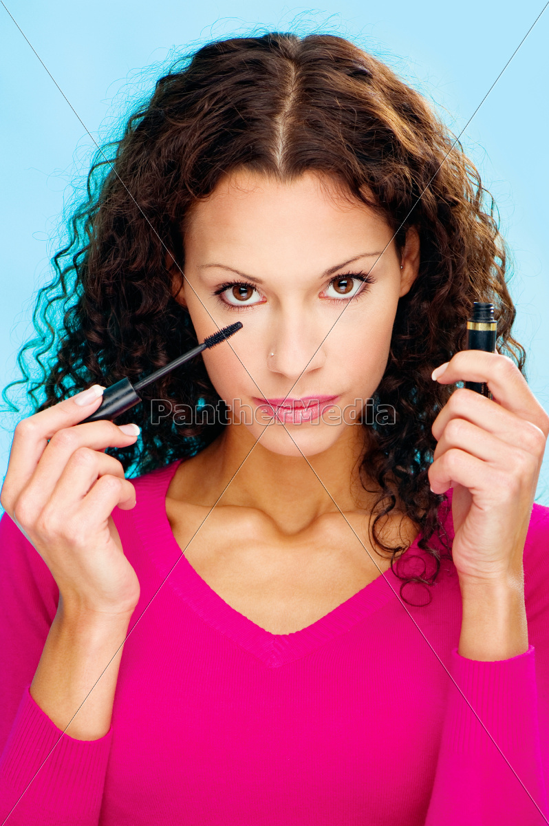 brunette, woman, holding, mascara - 10108385