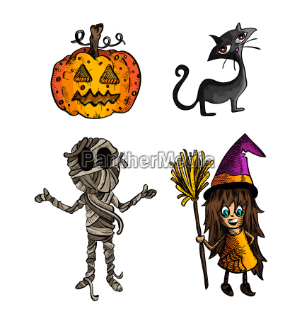 halloween, monsters, isolated, sketch, style, creatures - 10110161