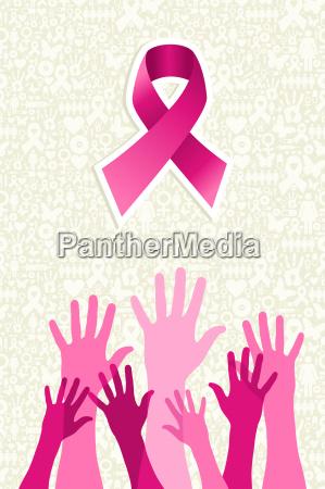 breast, cancer, awareness, ribbon, women, hands - 10113727