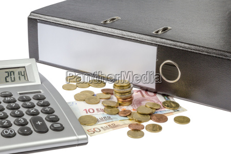 folder with money and calculator