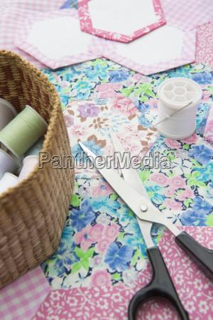 still life of quilt making material