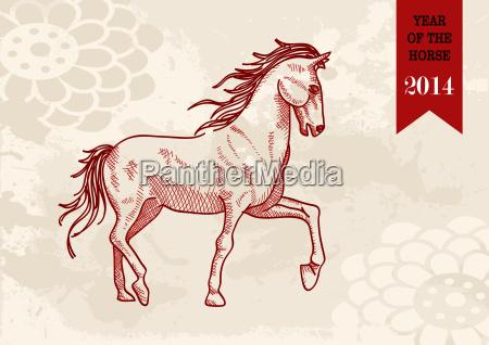 chinese, new, year, horse, hand, drawn - 10114349