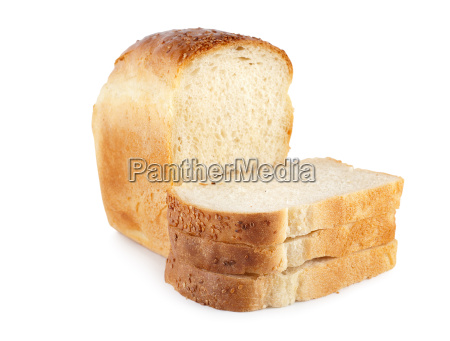 fresh white bread isolated