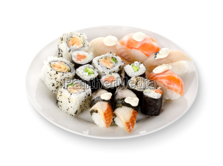 sushi and rolls in a plate