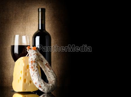 wine cheese and salami