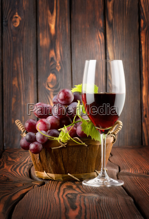wine glass and grapes in a