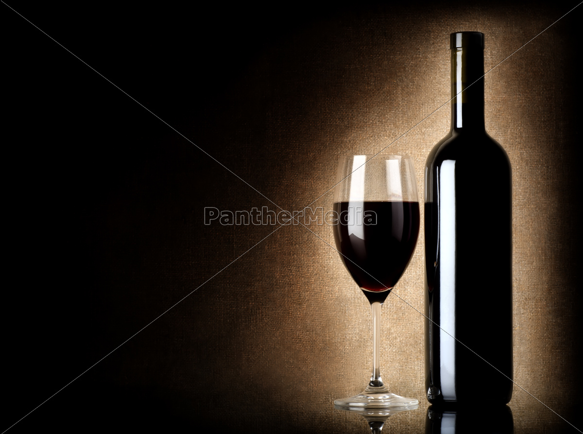 wine, bottle, and, wineglass, on, a - 10123525