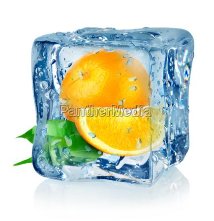 ice cube and orange