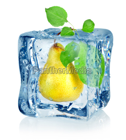 ice cube and pear