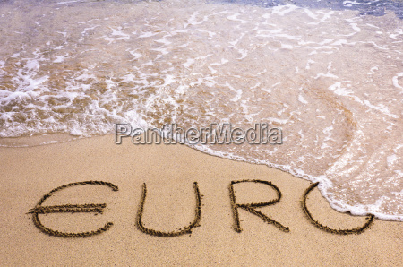 euro, word, written, in, the, sand - 10132393