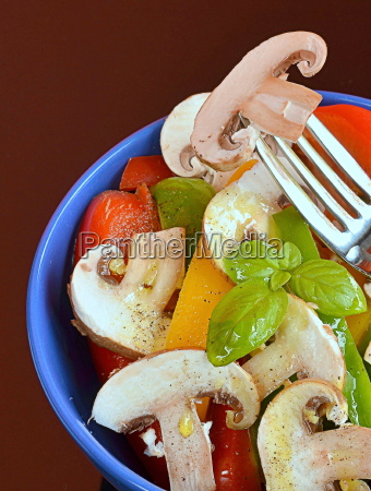 vegetable salad with peppers and mushrooms