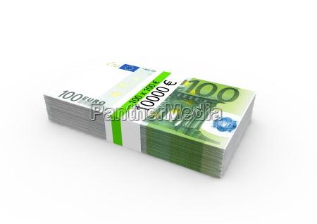 a bundle of 100 euro bank