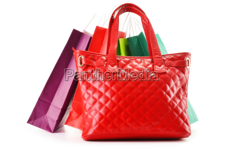 paper shopping bags and handbag isolated