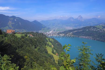 panorama of seelisberg facing against the