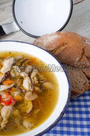 vegetarian parasol mushroom soup