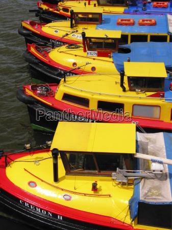 tour boats at the hamburg harbor