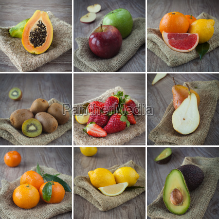 mixed fruits collage