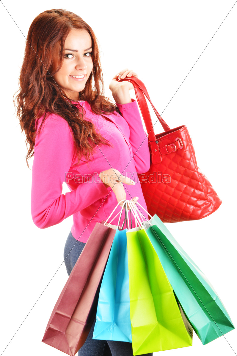young, woman, with, shopping, bags, isolated - 10145737