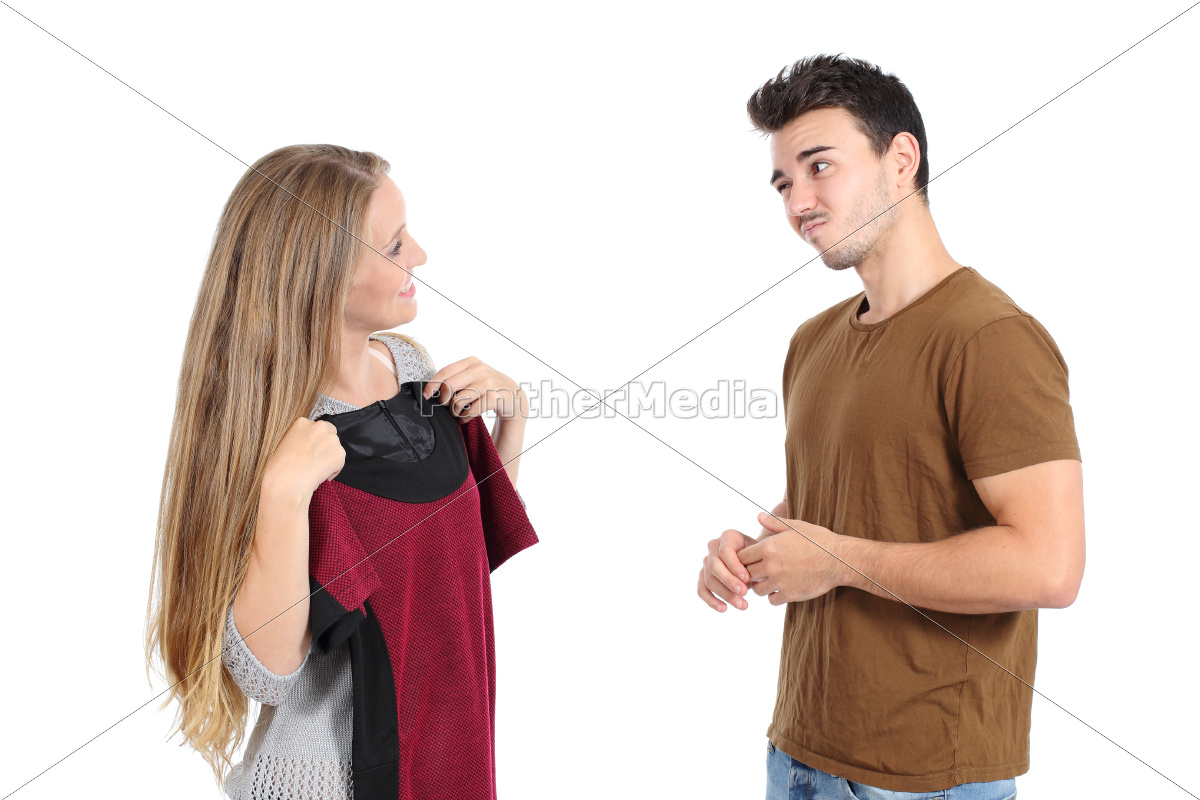 happy, woman, trying, clothes, shopping, with - 10147713