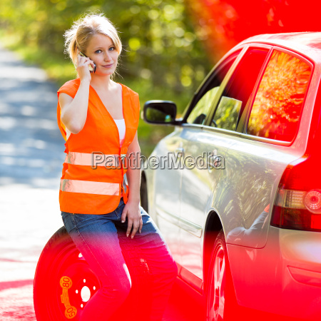 woman, telephone, phone, car, automobile, vehicle - 10150049