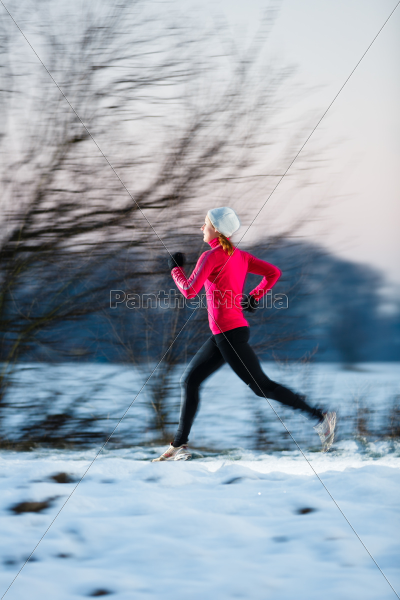 young, woman, running, outdoors, on, a - 10150075