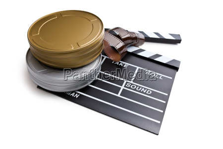 clapper board with film reels