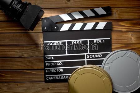 clapper board with movie light and
