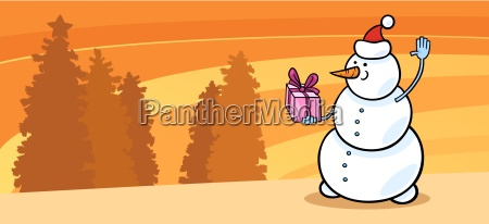 snowman santa with gift cartoon card