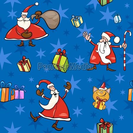 christmas, cartoon, seamless, pattern, decor - 10159681