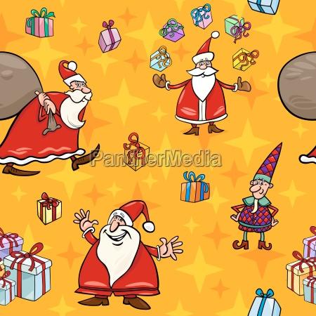 christmas, cartoon, seamless, pattern, wrapper - 10159659