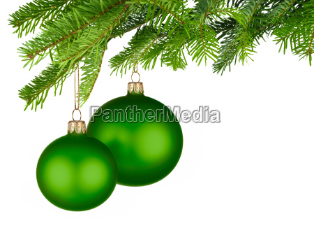 two green christmas baubles hanging on