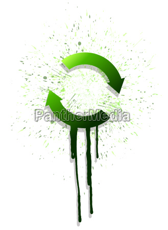 ink green arrow cycle illustration design