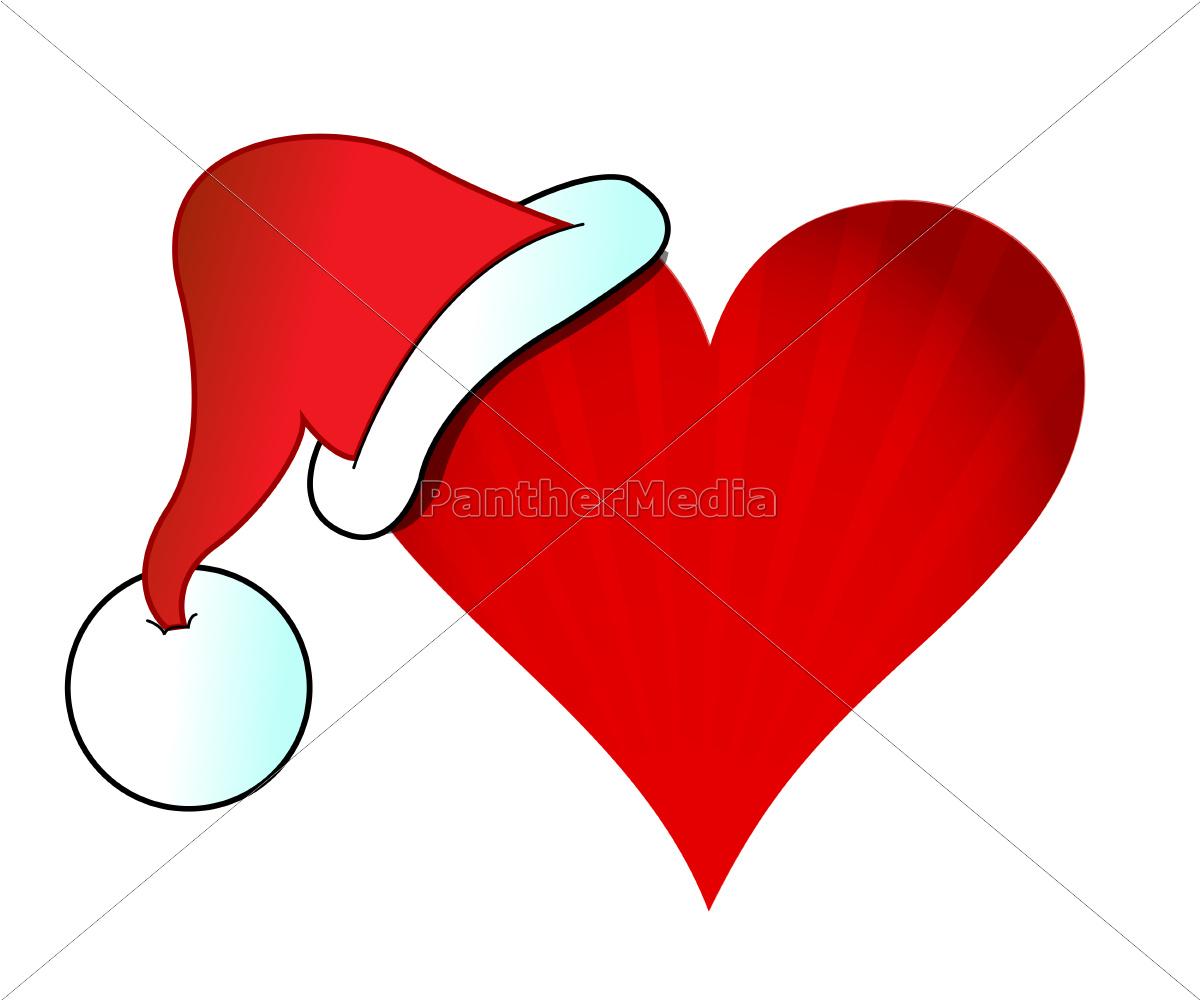 santa, hat, heart, illustration, design - 10165851