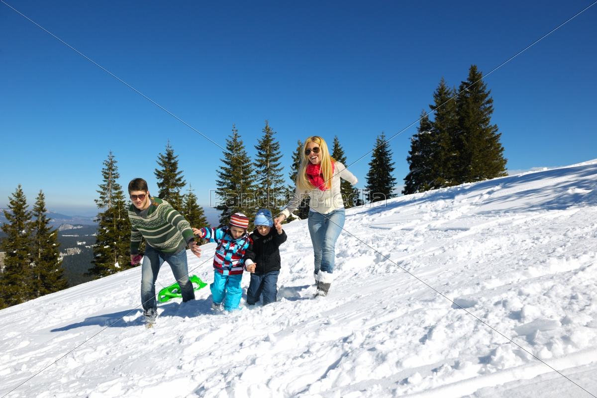 family, having, fun, on, fresh, snow - 10168531