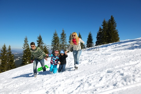 family, having, fun, on, fresh, snow - 10168531