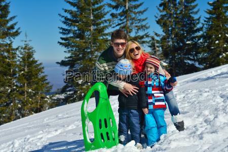 family, having, fun, on, fresh, snow - 10168687