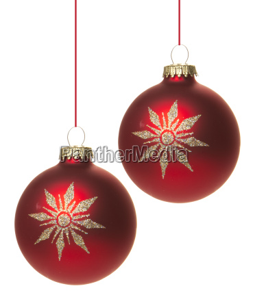 red, christmas, baubles, with, white, star - 10168475
