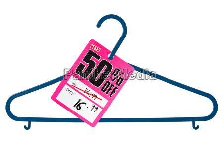 plastic hanger with sale tag